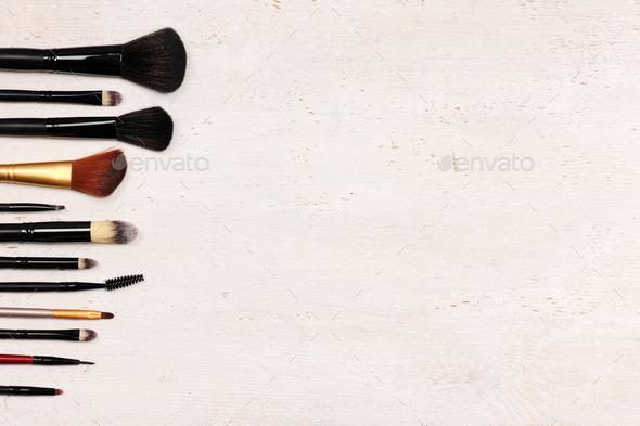make up brushes arrangement - Stock Photo - Images