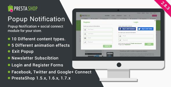 PrestaShop Popup Notification + Social Connect - CodeCanyon Item for Sale