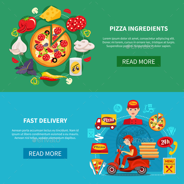 Pizza Fast Delivery Banners - People Characters