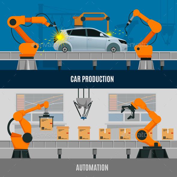 Automation Banners Set - Business Conceptual