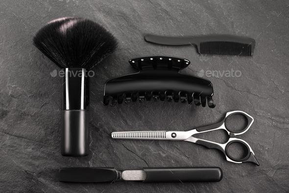Set for stylist on black stone, black Friday - Stock Photo - Images