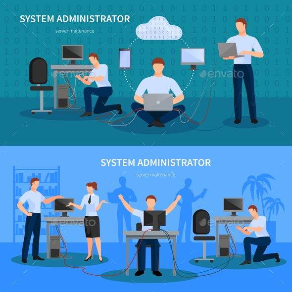 System Administrator Banners Set - Backgrounds Decorative