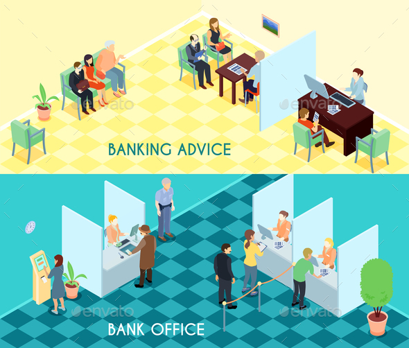 Bank Service Isometric Banners - Buildings Objects