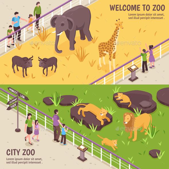 Isometric Zoo Horizontal Banners - Animals Characters
