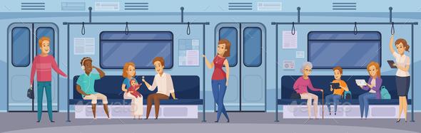 Subway Underground Train Passengers Cartoon - People Characters