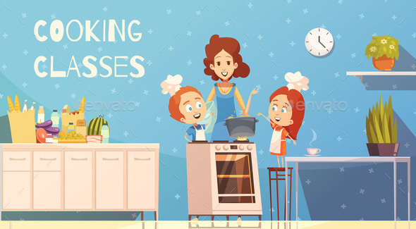 Cooking Classes For Children Vector Illustration - Food Objects