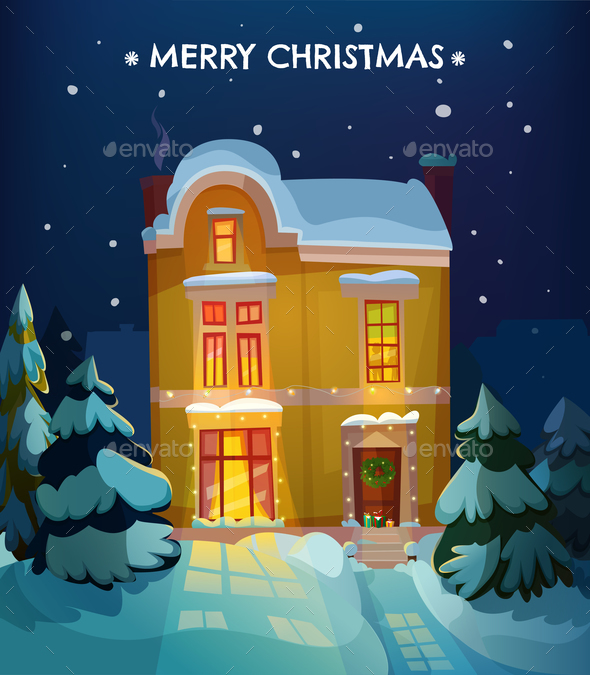 Christmas House Poster - Miscellaneous Vectors