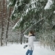 Happy Girl Running in Winter Forest - VideoHive Item for Sale