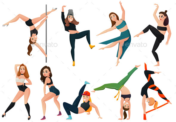 Modern Types Of Dance Set - People Characters