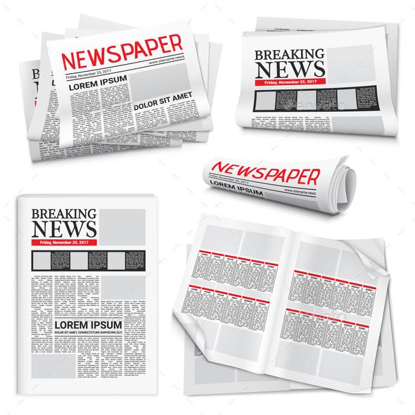 Newspaper Realistic Set - Miscellaneous Vectors