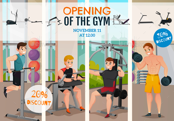 Gym Opening Poster - People Characters