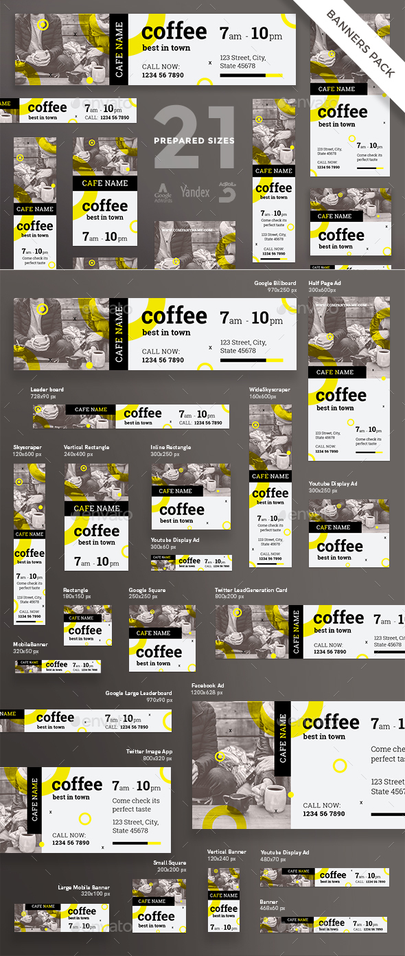 Coffee Shop Banner Pack - Banners & Ads Web Elements