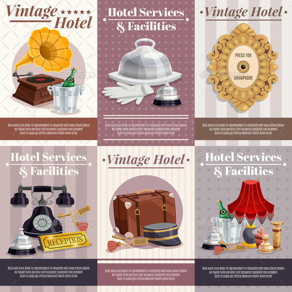 Vintage Hotel Poster Set - Miscellaneous Vectors