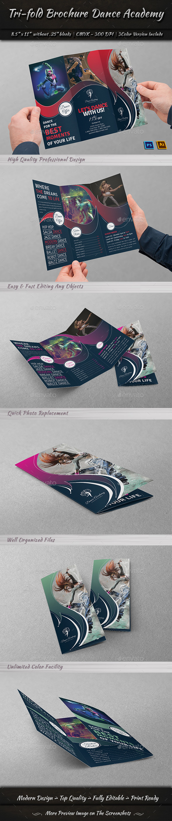 Tri-Fold Brochure Dance Academy - Brochures Print Templates