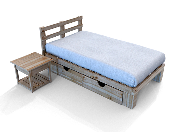 Simple Wooden Bed - 3DOcean Item for Sale