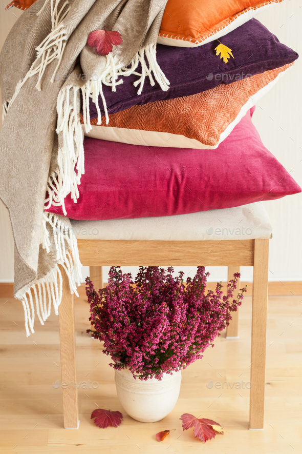 colorful cushions throw cozy home autumn mood flower leaf - Stock Photo - Images