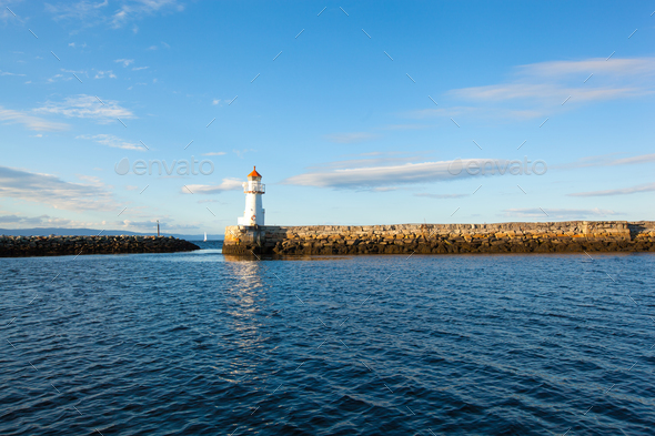 summer view of a lighthouse in Trondheim - Stock Photo - Images