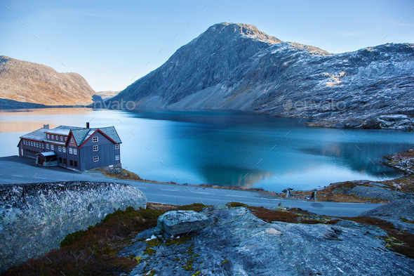 a hotel on Djupvatnet lake in Norway - Stock Photo - Images