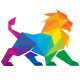Lion Colorful Polygon Logo