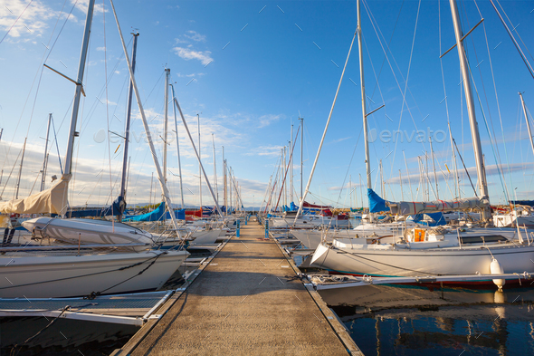 view of a marina in Trondheim - Stock Photo - Images