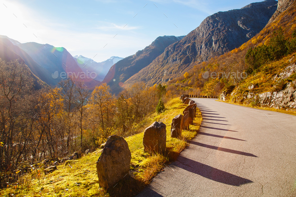 sunny autumn at Gamle Strynefjellsvegen, National tourist road, - Stock Photo - Images