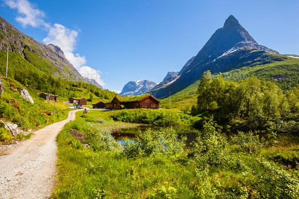Innerdalen valley beautiful hiking destination, Norway - Stock Photo - Images