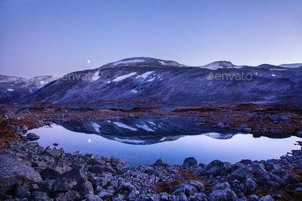 lake at Gamle Strynefjellsvegen, National tourist road, Norway - Stock Photo - Images