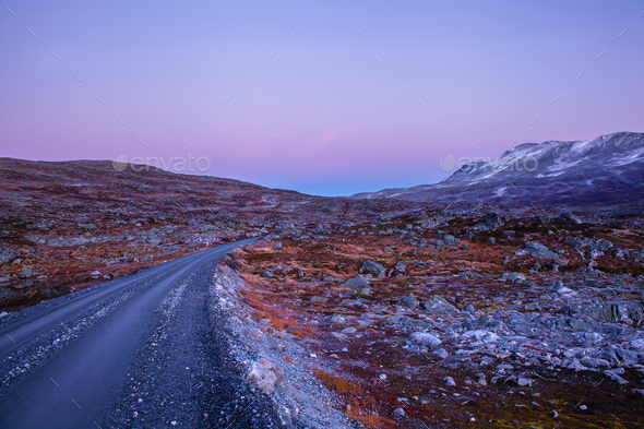 road at Gamle Strynefjellsvegen, National tourist road, Norway - Stock Photo - Images