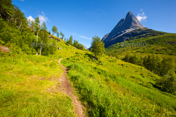 Innerdalen valley beautiful hiking destination, Norway - Stock Photo - Images