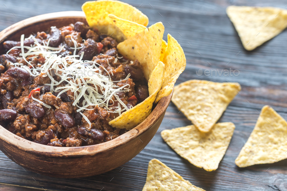 Bowl of chili con carne - Stock Photo - Images