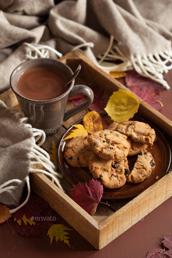 hot chocolate warming drink cozy autumn leaves cookies - Stock Photo - Images