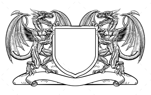 Dragon Heraldry Crest Coat of Arms Shield Emblem - Miscellaneous Vectors