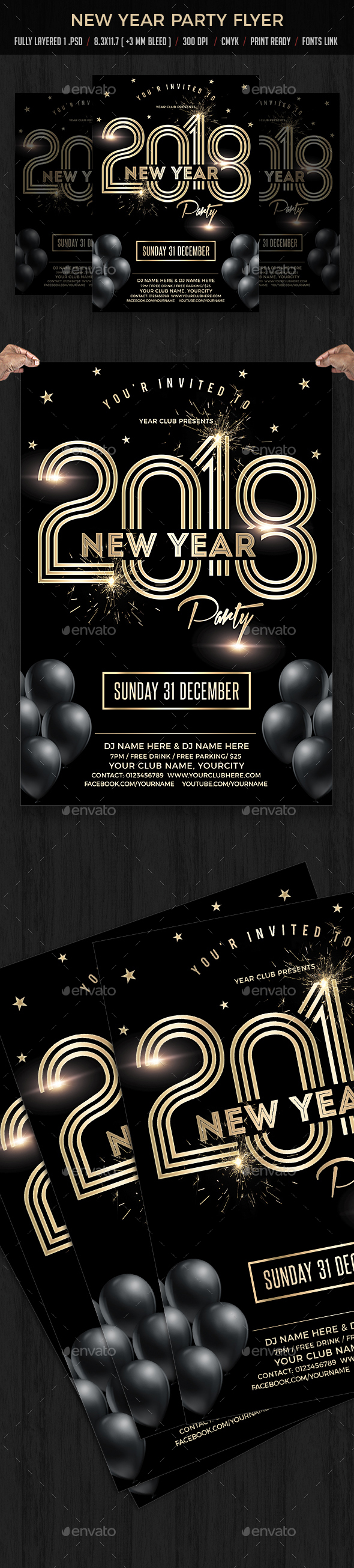New Year Party - Flyers Print Templates