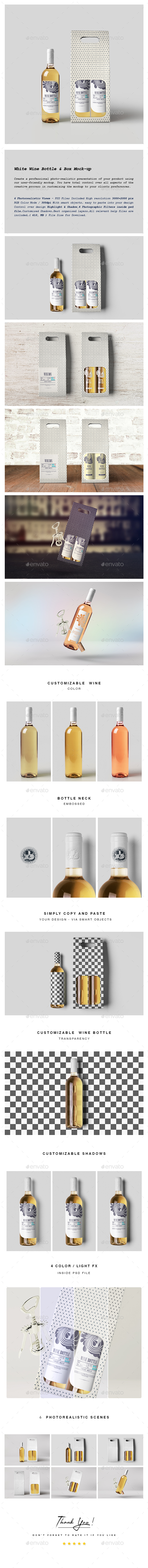 White Wine Bottle and Box Mock-up - Food and Drink Packaging
