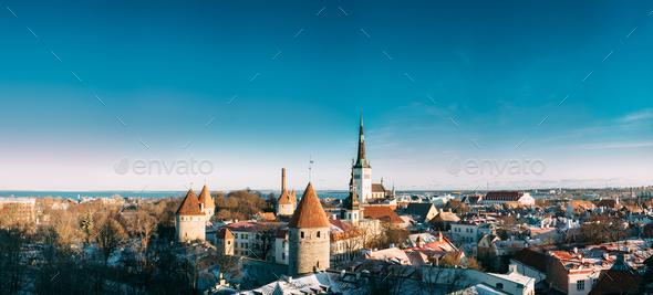 Tallinn, Estonia. Panorama Of Part Of Tallinn City Wall With Tow - Stock Photo - Images