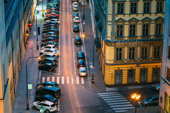 Prague, Czech Republic. Top View Of Traffic And Parked Cars On T - Stock Photo - Images