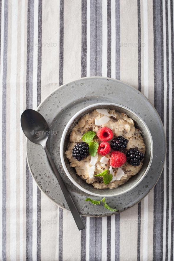 healthy breakfast oatmeal porridge with raspberry blackberry - Stock Photo - Images