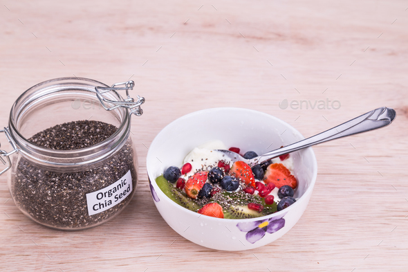 Chia seeds with fruits yogurt, healthy nutritious anti-oxidant s - Stock Photo - Images