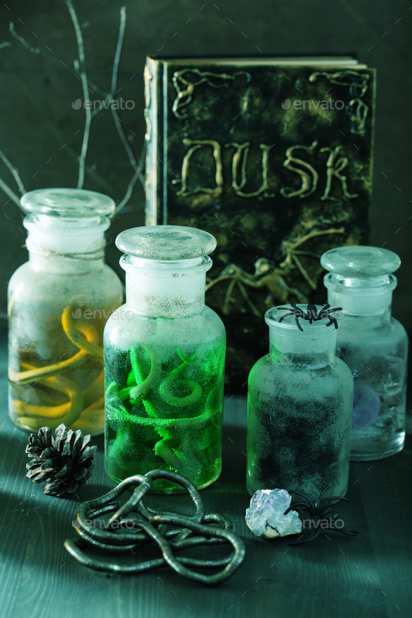 witch apothecary jars magic potions halloween decoration - Stock Photo - Images