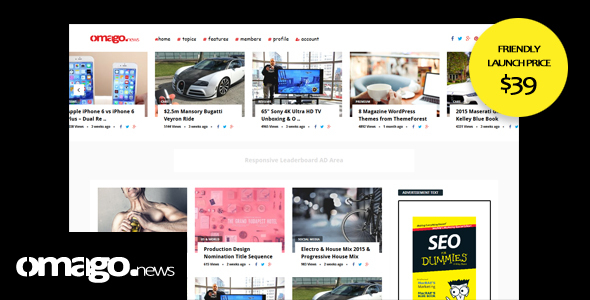 ThemeForest Omago News User Profile Membership & Content Sharing Theme 20727955