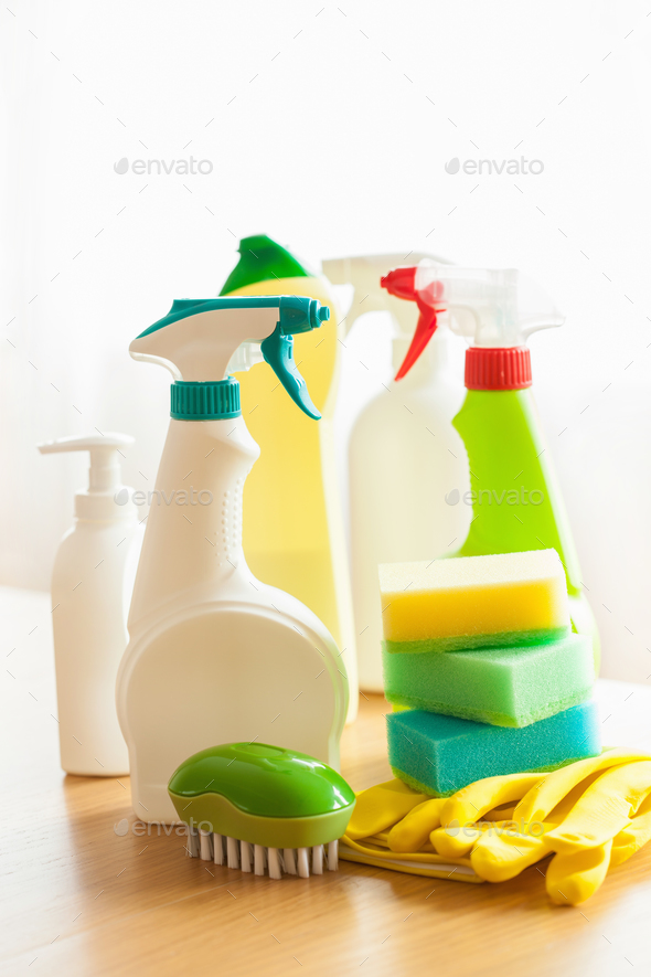 cleaning items household spray brush sponge glove - Stock Photo - Images