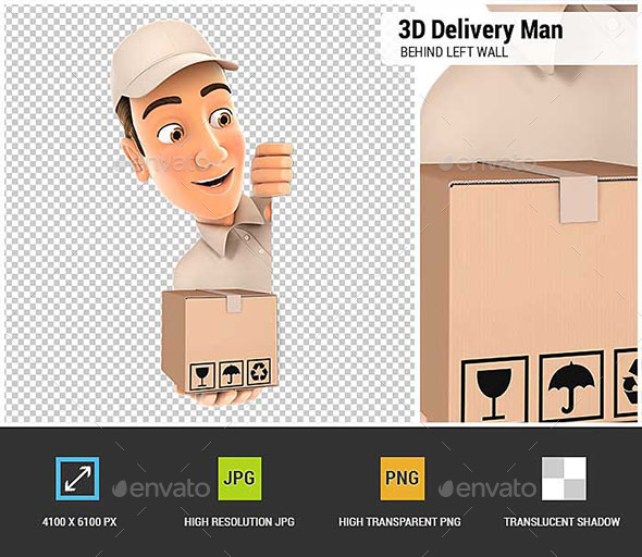 3D Delivery Man Behind Left Wall and Holding Package - Characters 3D Renders
