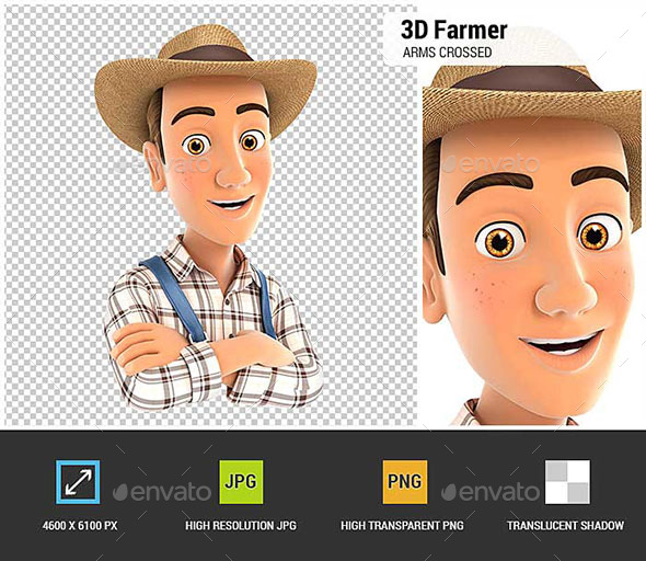 3D Farmer with Arms Crossed - Characters 3D Renders