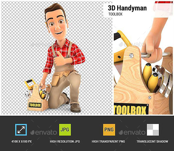 GraphicRiver 3D Handyman with Toolbox and Thumb Up 20880270