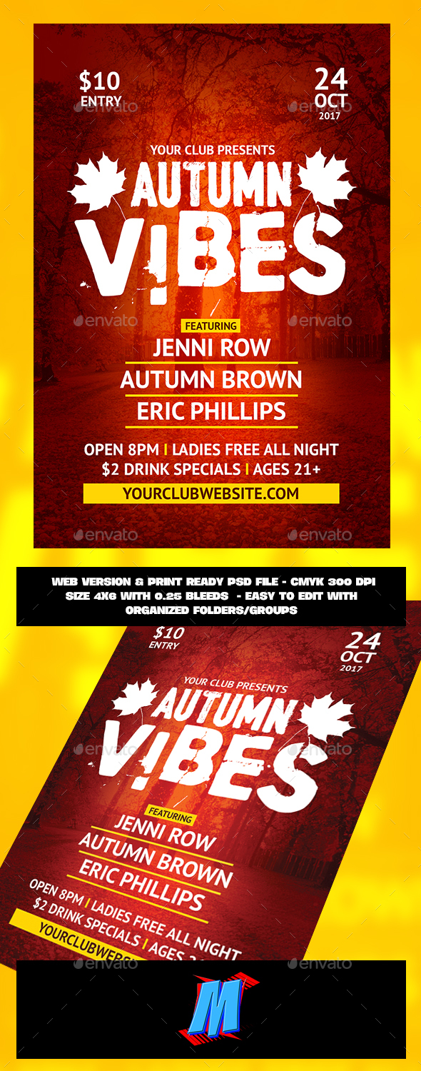 Autumn Vibes Flyer Template - Clubs & Parties Events