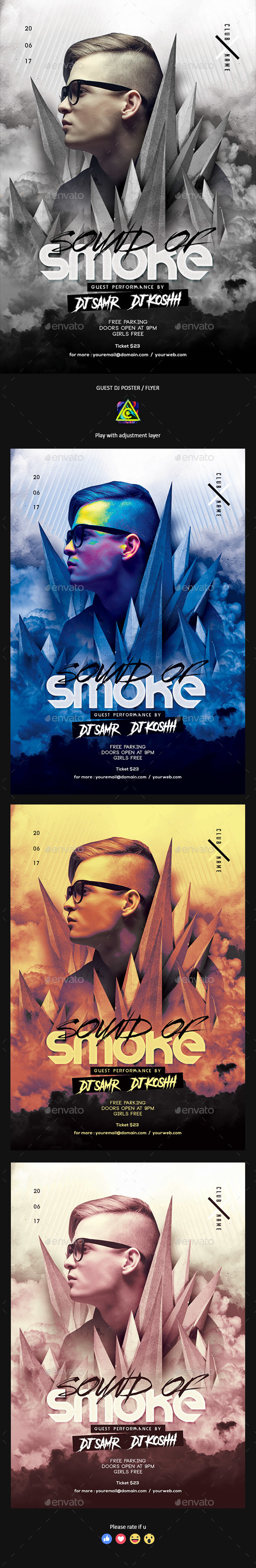 Sound Of Smoke PSD Flyer / Poster Template - Clubs & Parties Events