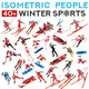 Winter Sport Athlete Icons Vector Set