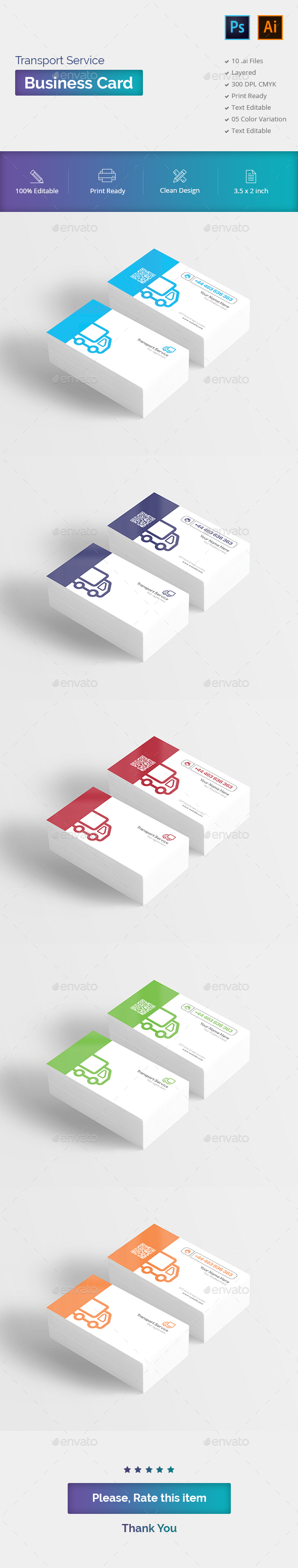 Transport Service Business Card - Business Cards Print Templates