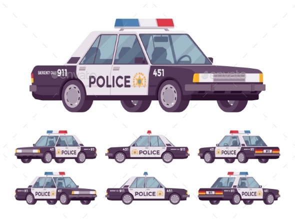 Police Car Set - Man-made Objects Objects