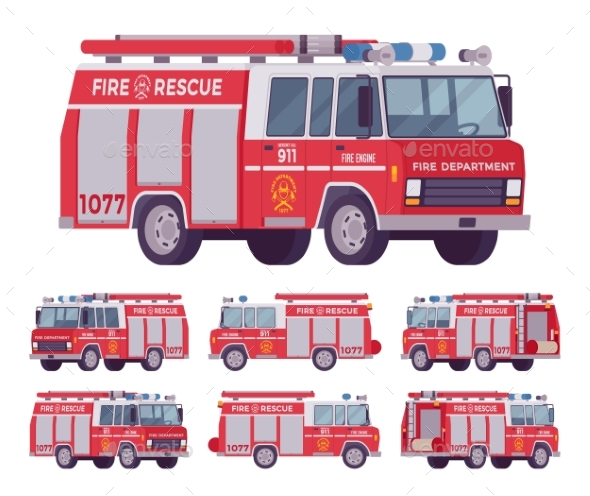 Fire Engine Set - Man-made Objects Objects